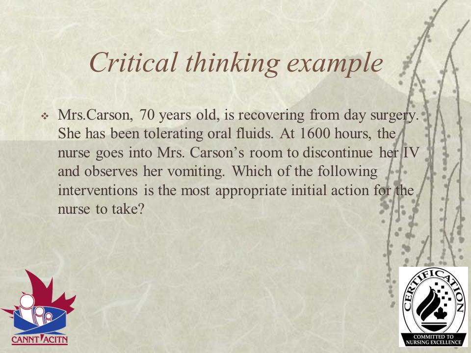 Critical thinking example