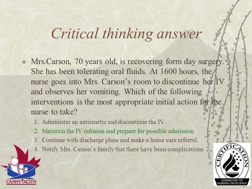 Critical thinking answer