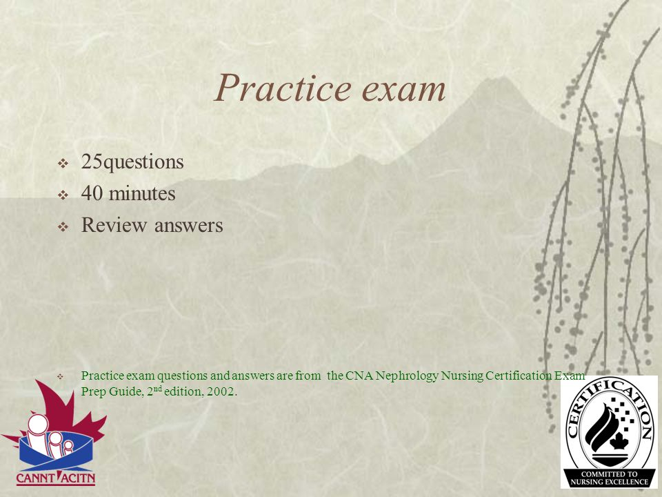 Practice exam 25questions 40 minutes Review answers