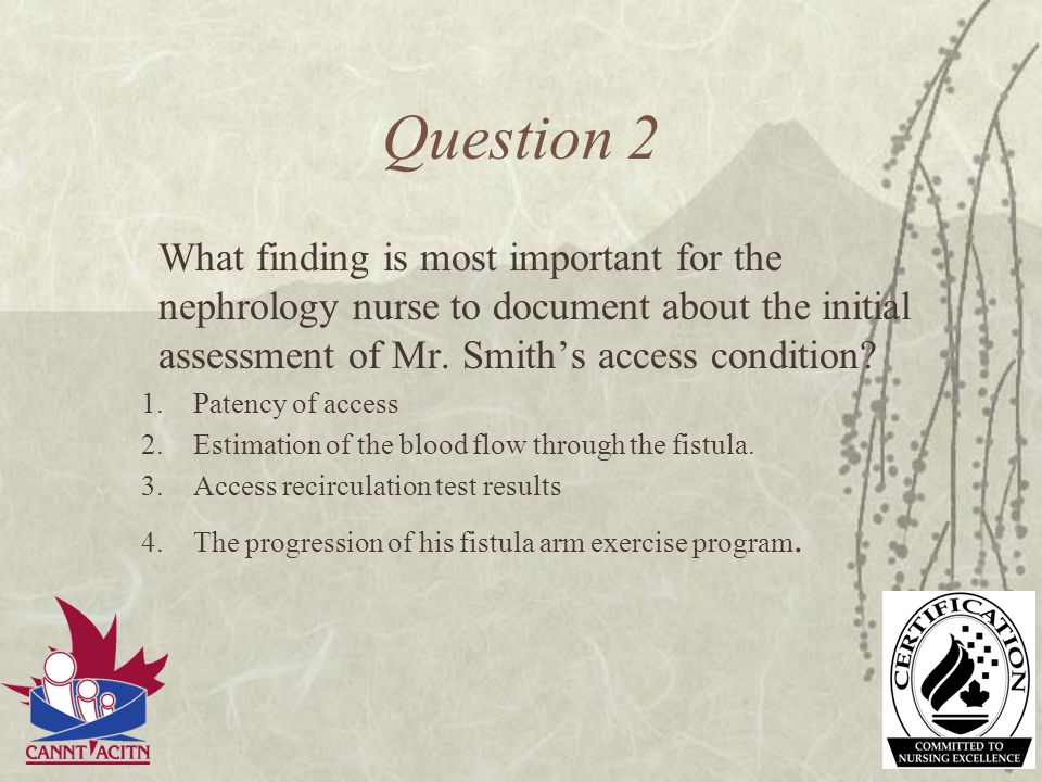 Question 2 What finding is most important for the nephrology nurse to document about the initial assessment of Mr. Smith's access condition