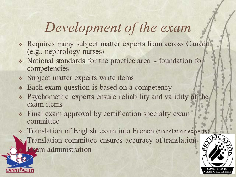 Development of the exam