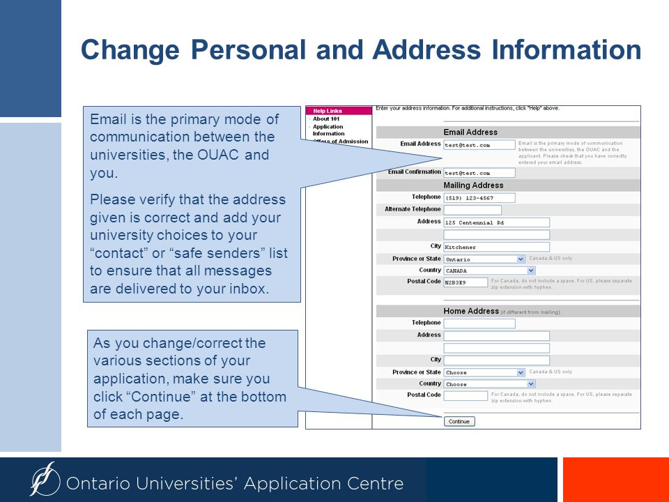 Change Personal and Address Information