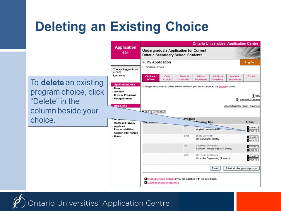 Deleting an Existing Choice