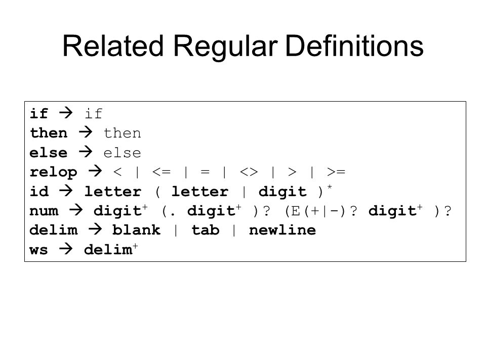 Related Regular Definitions