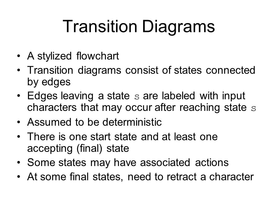 Transition Diagrams A stylized flowchart
