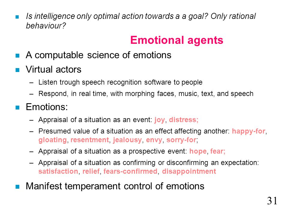 Emotional agents 31 A computable science of emotions Virtual actors