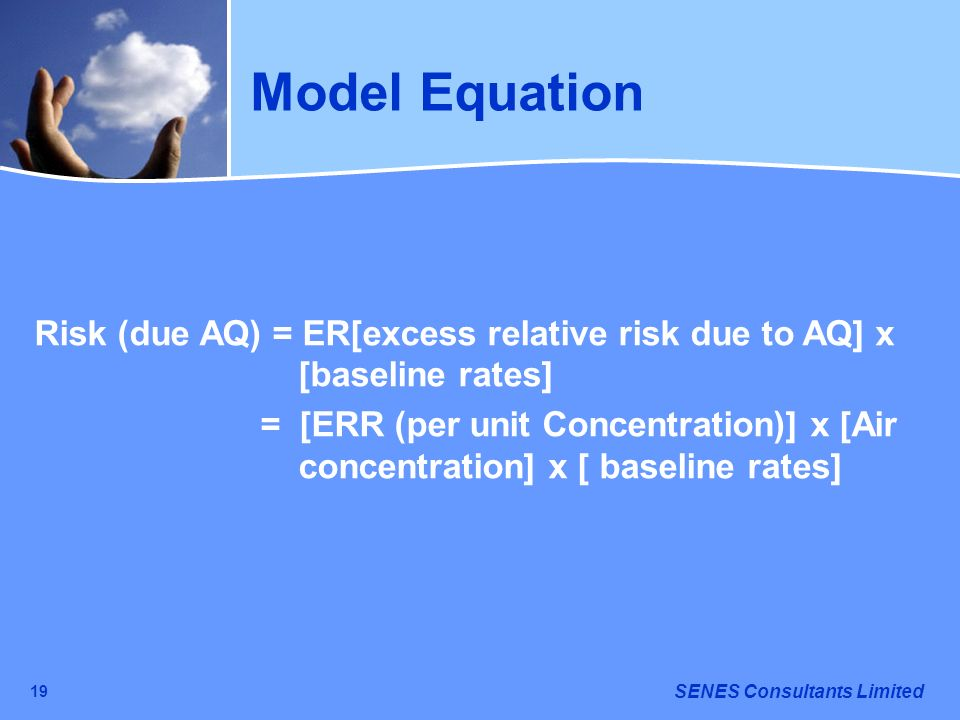 Model Equation Risk (due AQ) = ER[excess relative risk due to AQ] x [baseline rates]