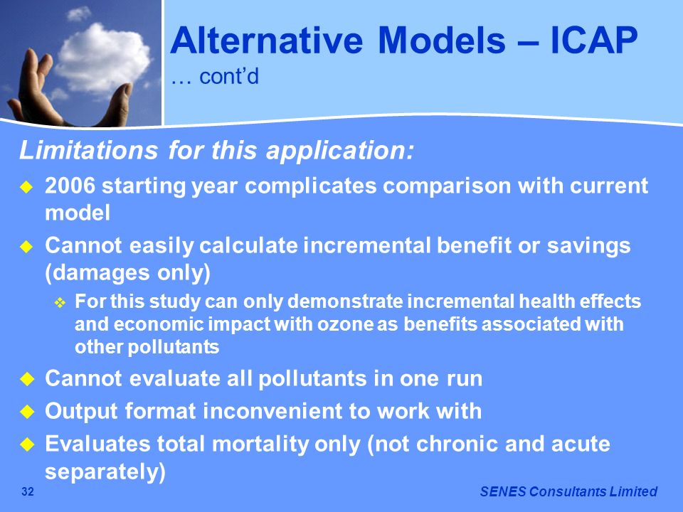 Alternative Models – ICAP … cont'd