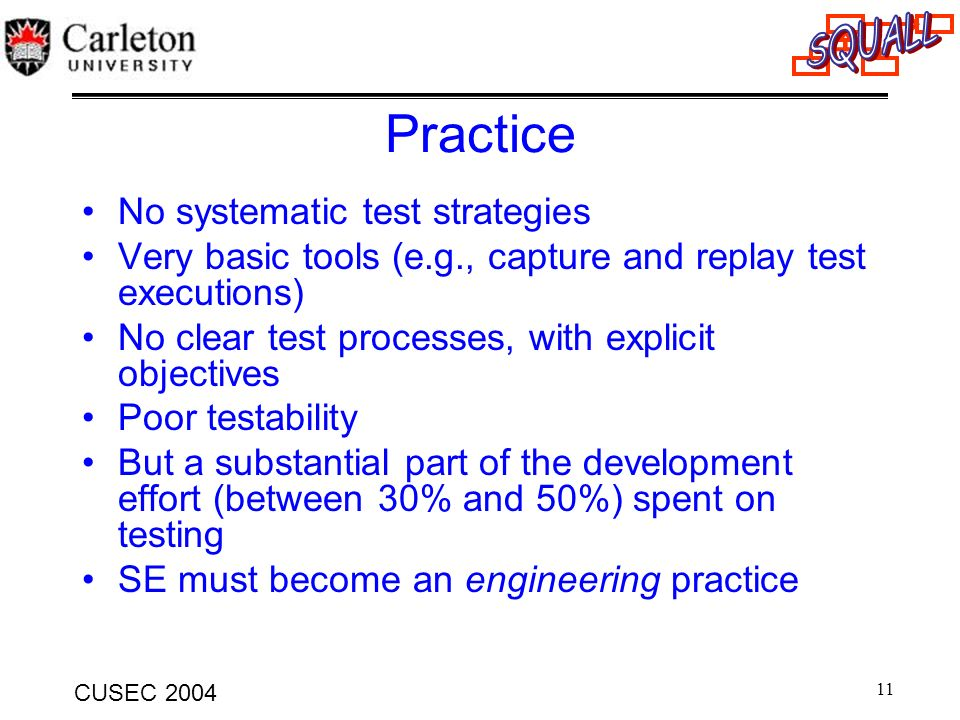 Practice No systematic test strategies
