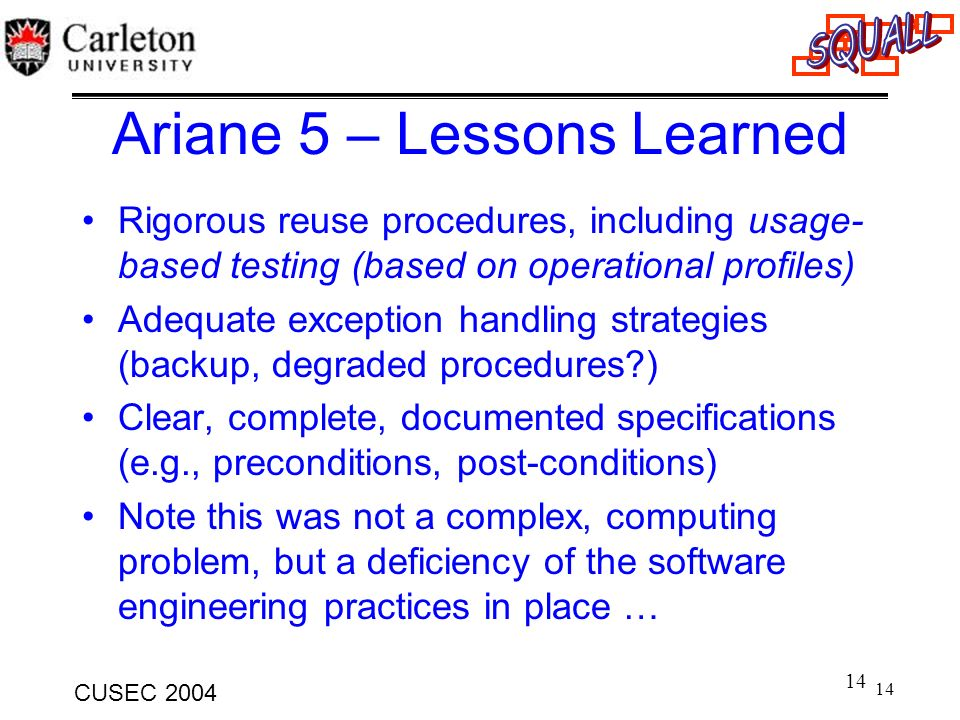 Ariane 5 – Lessons Learned