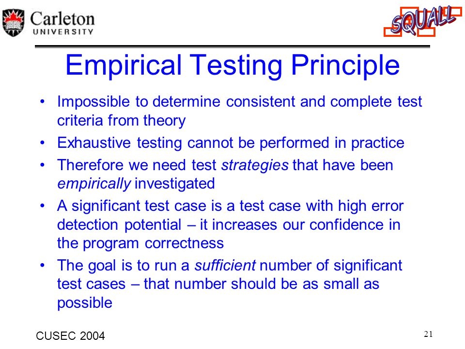 Empirical Testing Principle