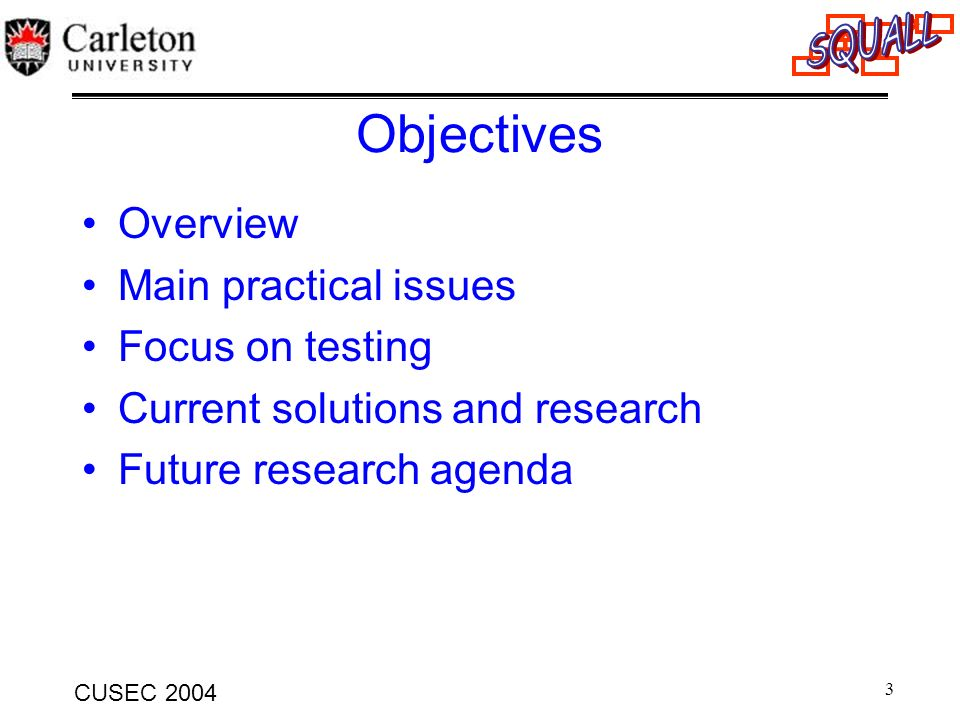Objectives Overview Main practical issues Focus on testing
