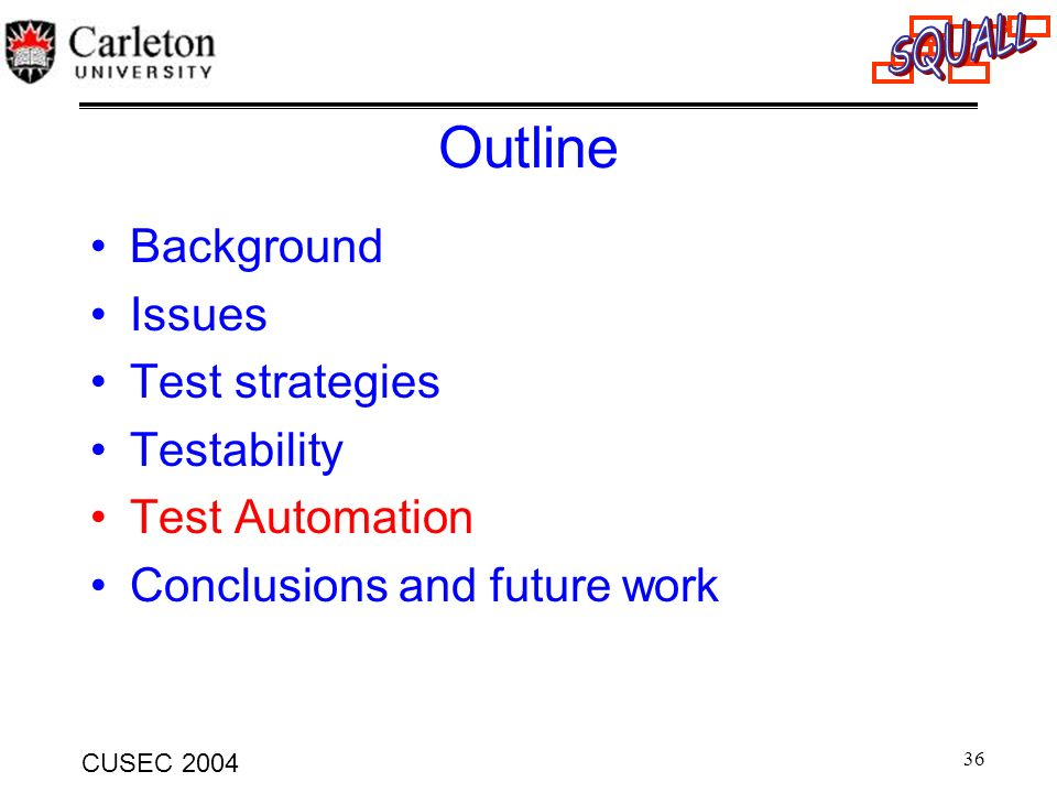 Outline Background Issues Test strategies Testability Test Automation