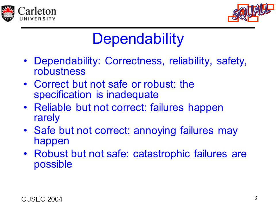 Dependability Dependability: Correctness, reliability, safety, robustness. Correct but not safe or robust: the specification is inadequate.
