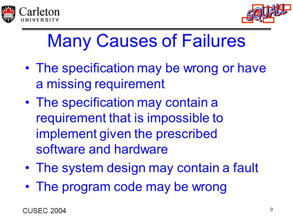 Many Causes of Failures