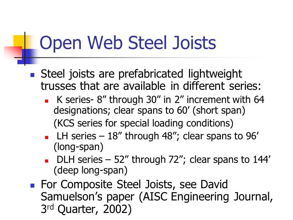 Introduction Of Open Web Steel Joist Deck And Composite Steel Joist