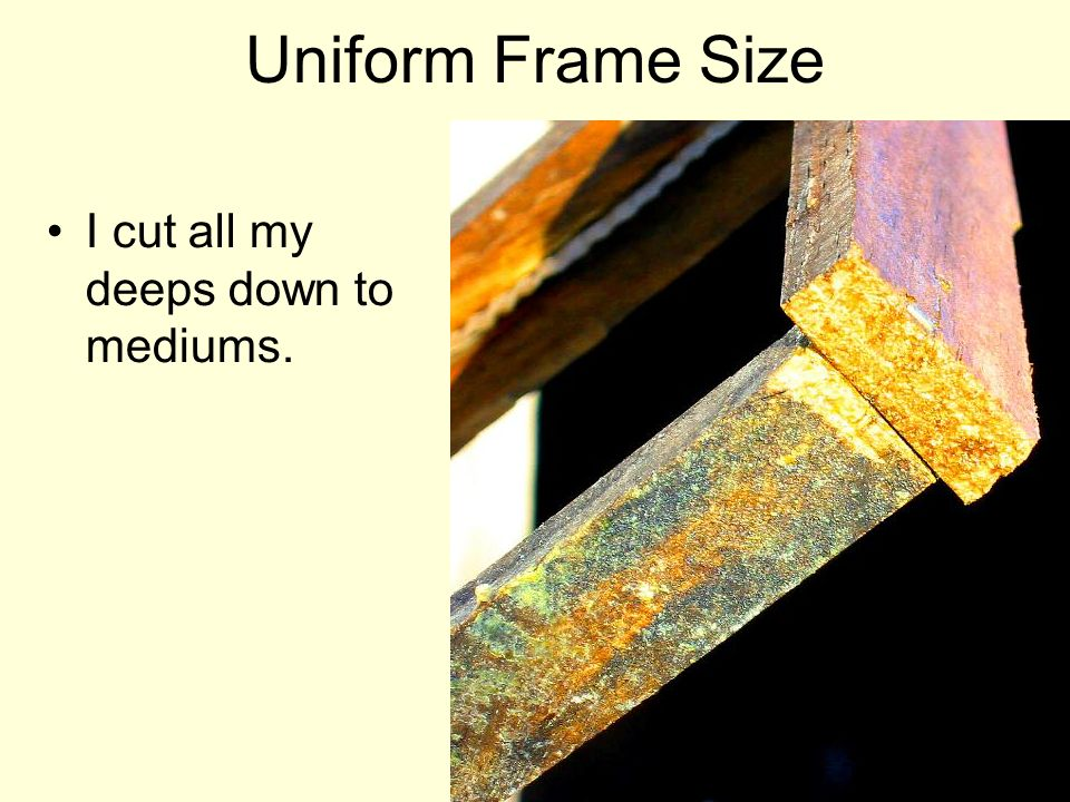 Uniform Frame Size I cut all my deeps down to mediums.