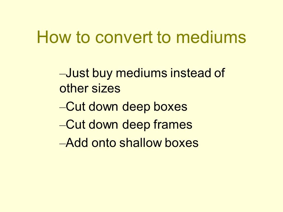 How to convert to mediums