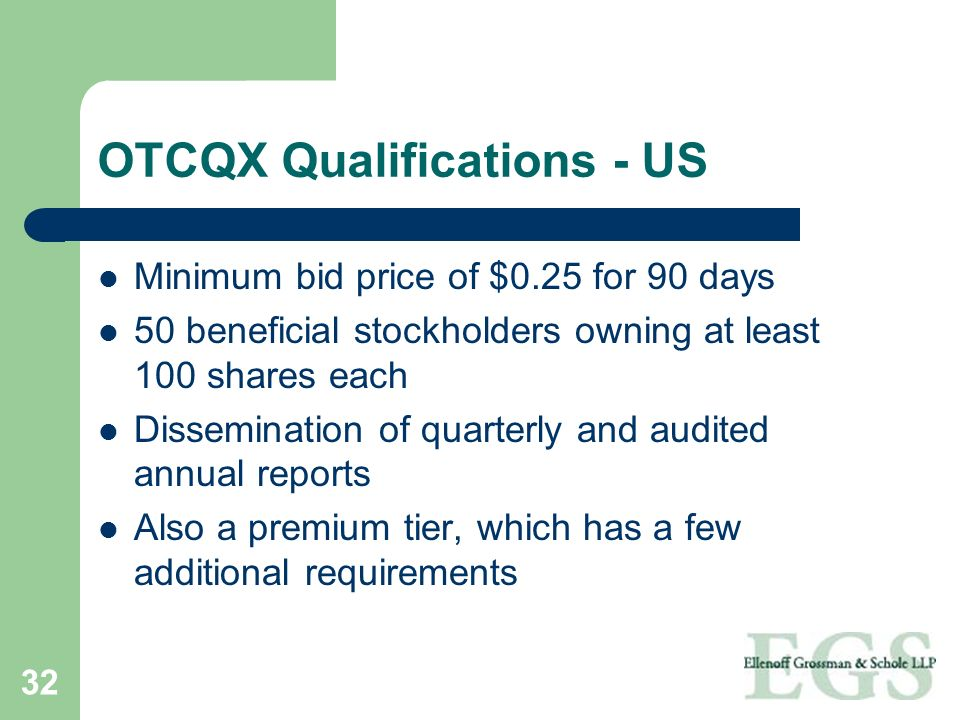 OTCQX Qualifications - US