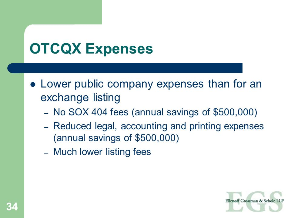 OTCQX Expenses Lower public company expenses than for an exchange listing. No SOX 404 fees (annual savings of $500,000)