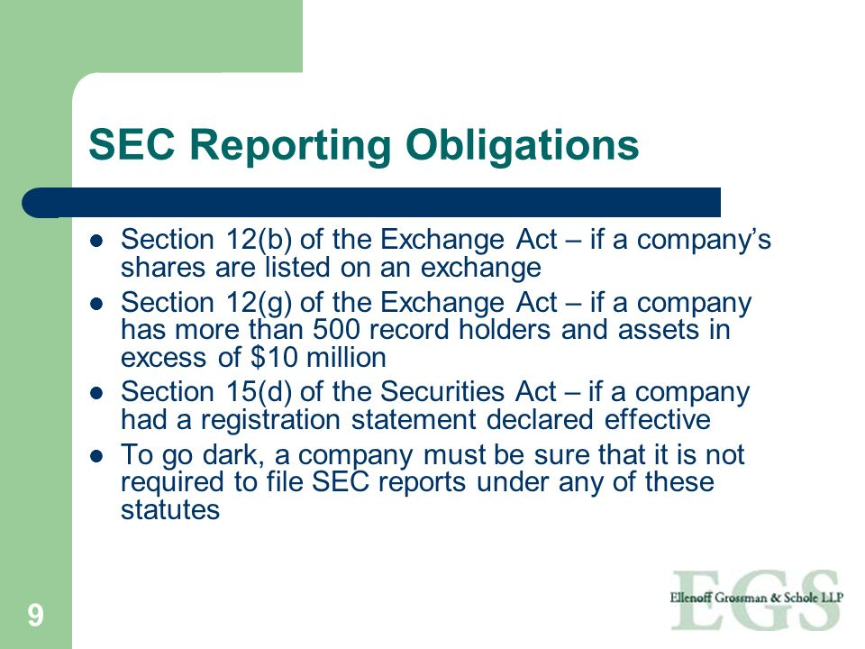 SEC Reporting Obligations