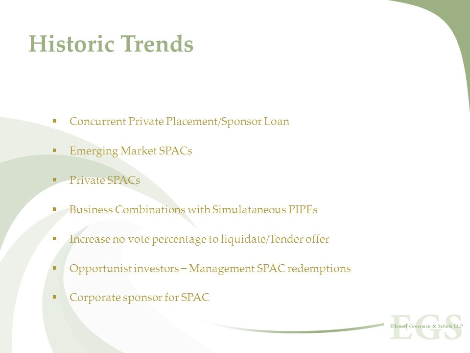 Historic Trends Concurrent Private Placement/Sponsor Loan