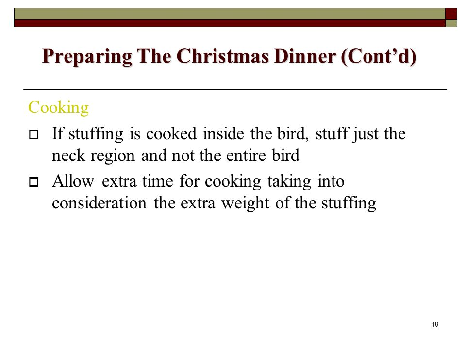 Preparing The Christmas Dinner (Cont'd)