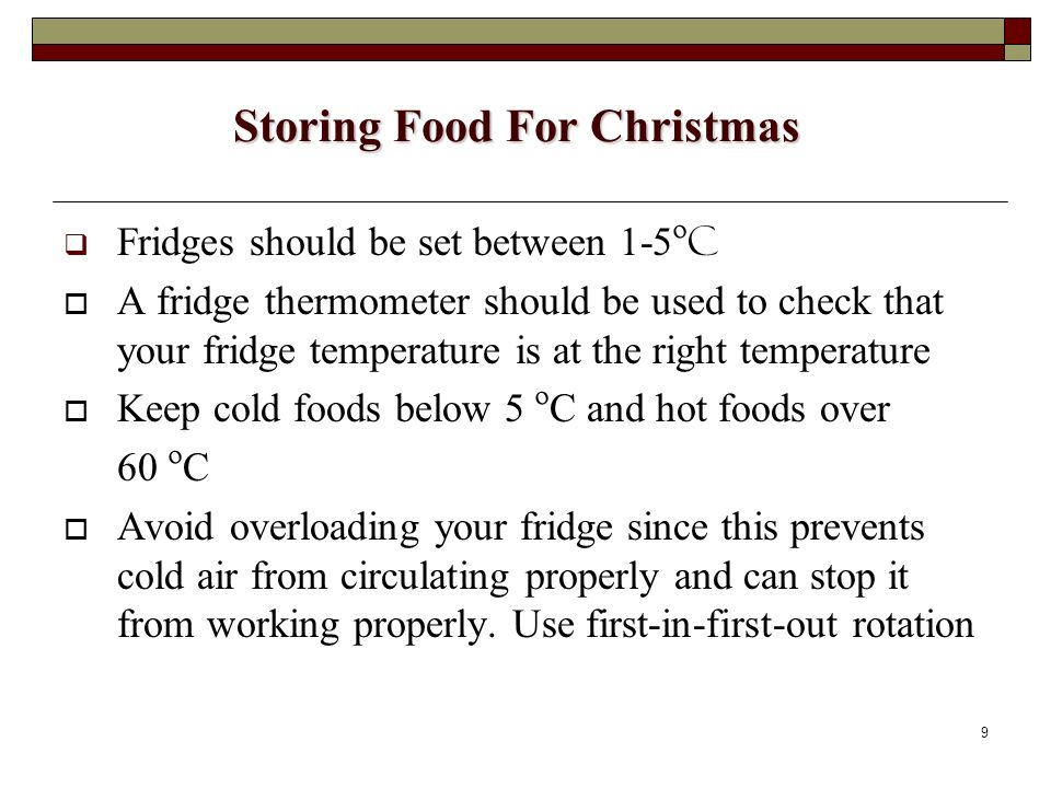 Storing Food For Christmas