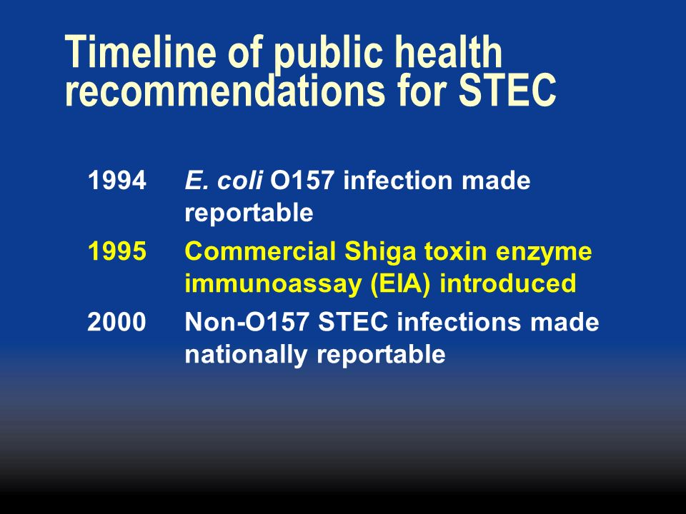 Timeline of public health recommendations for STEC