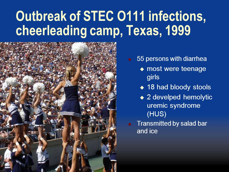 Outbreak of STEC O111 infections, cheerleading camp, Texas, 1999