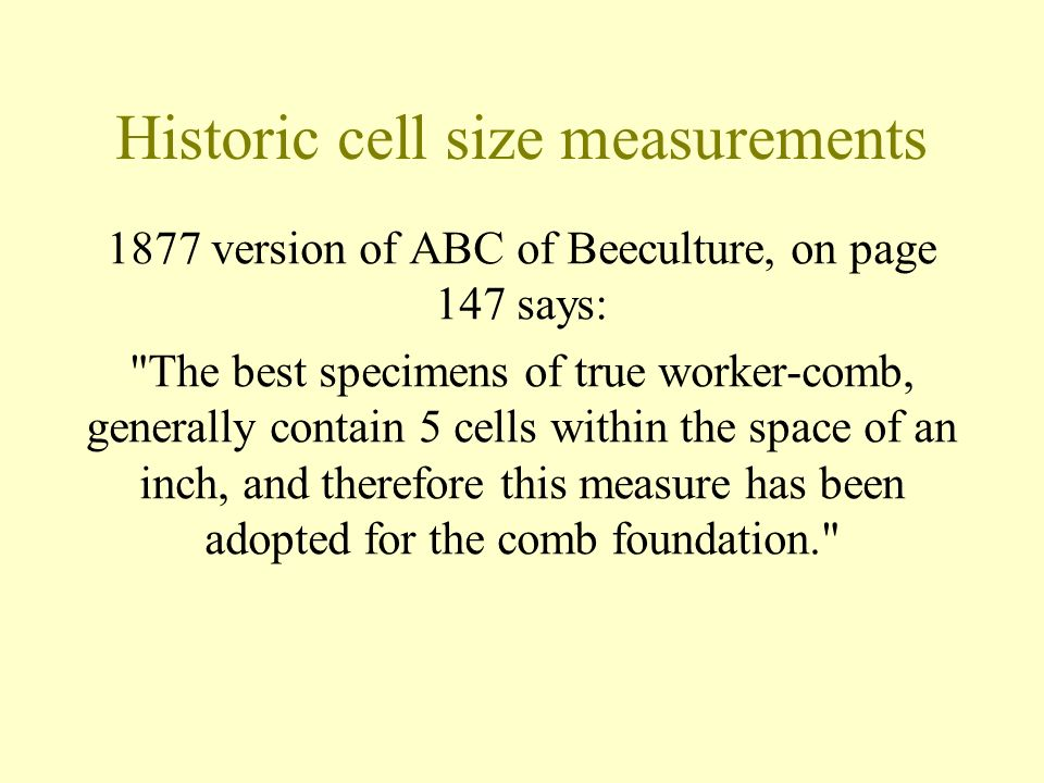 Historic cell size measurements