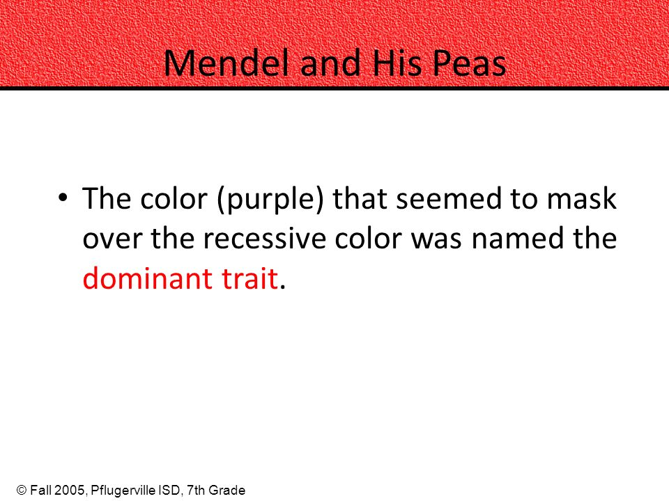 Mendel and His Peas The color (purple) that seemed to mask over the recessive color was named the dominant trait.