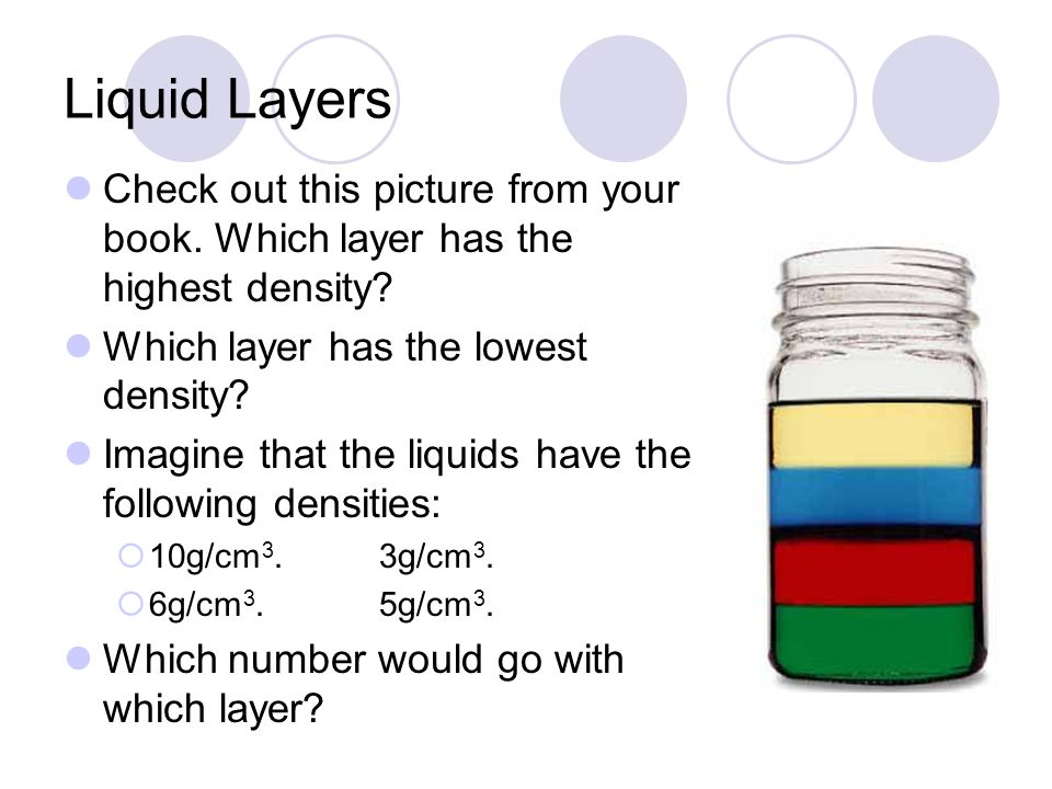 Liquid Layers Check out this picture from your book. Which layer has the highest density Which layer has the lowest density