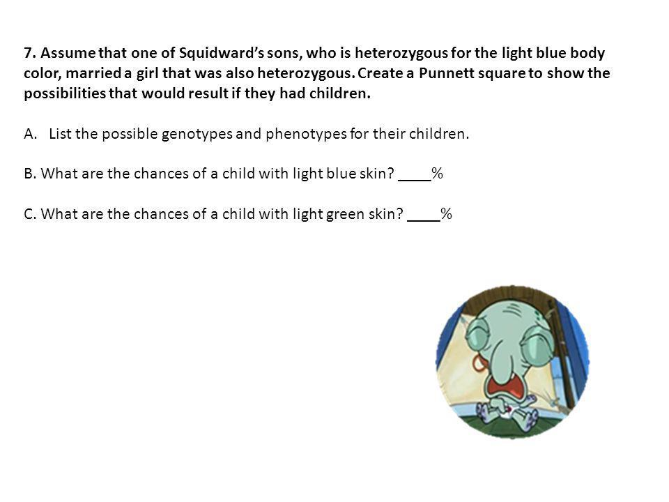 7. Assume that one of Squidward's sons, who is heterozygous for the light blue body color, married a girl that was also heterozygous. Create a Punnett square to show the possibilities that would result if they had children.