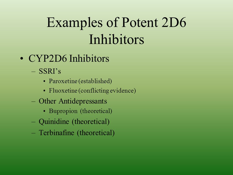 Examples of Potent 2D6 Inhibitors