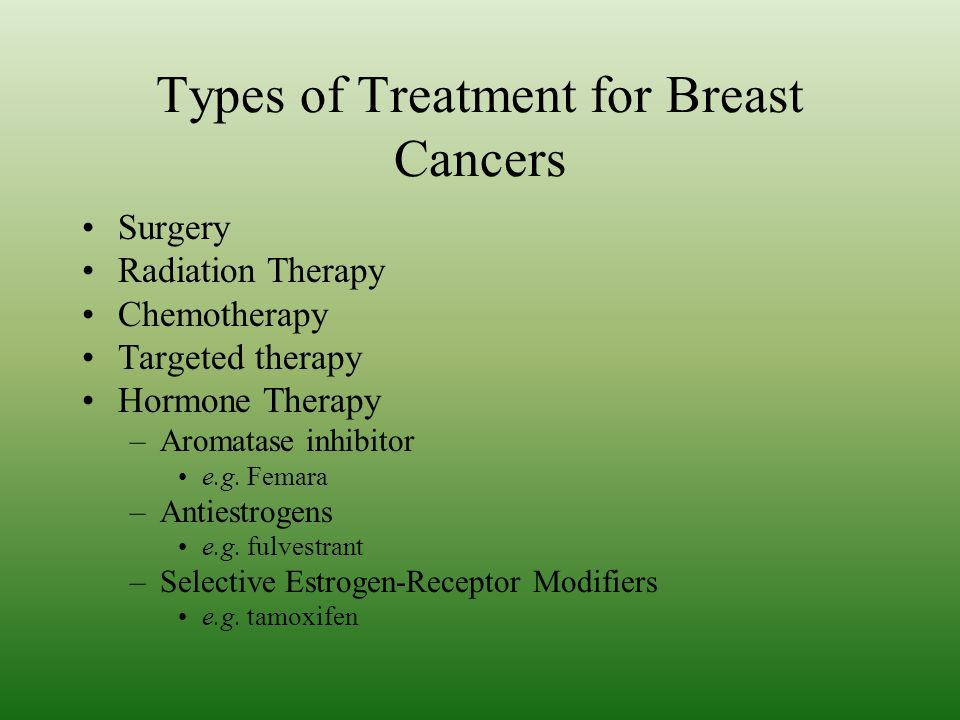 Types of Treatment for Breast Cancers