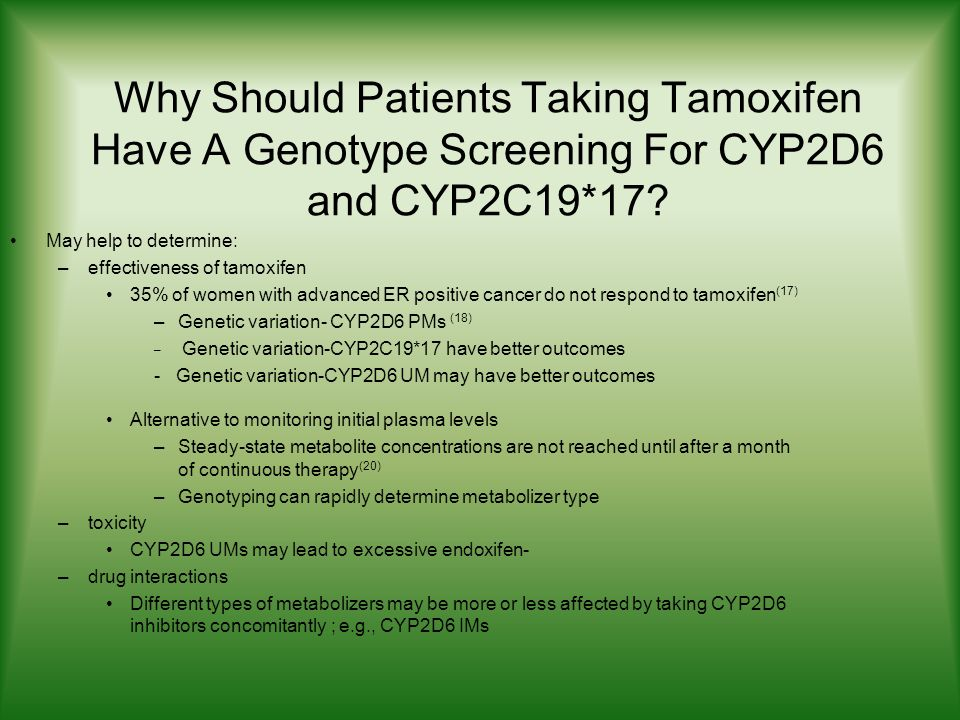 Why Should Patients Taking Tamoxifen Have A Genotype Screening For CYP2D6 and CYP2C19*17