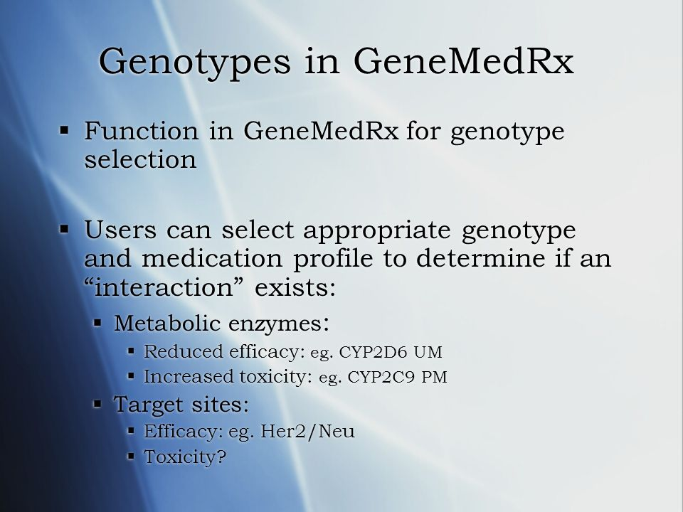 Genotypes in GeneMedRx