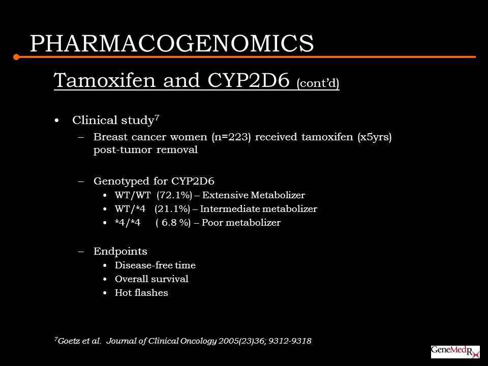 PHARMACOGENOMICS Tamoxifen and CYP2D6 (cont'd) Clinical study7