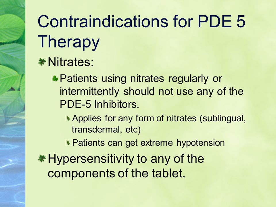 Contraindications for PDE 5 Therapy