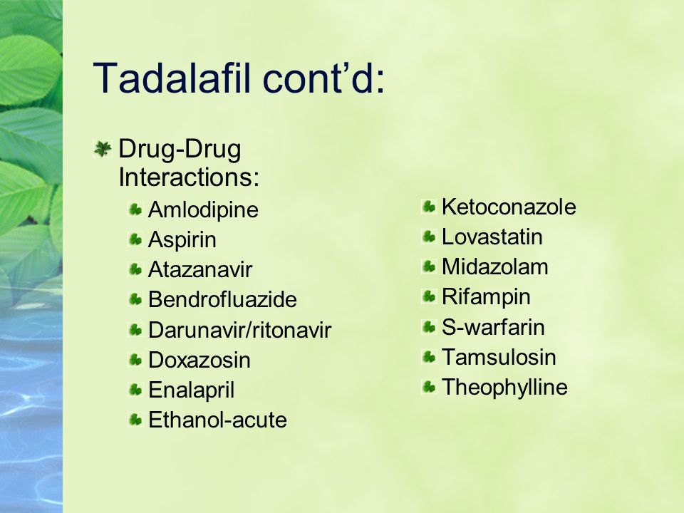 Tadalafil cont'd: Drug-Drug Interactions: Amlodipine Ketoconazole