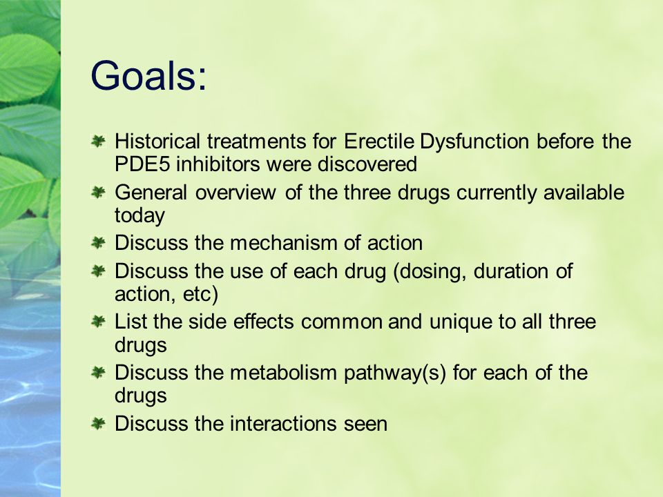 Goals: Historical treatments for Erectile Dysfunction before the PDE5 inhibitors were discovered.