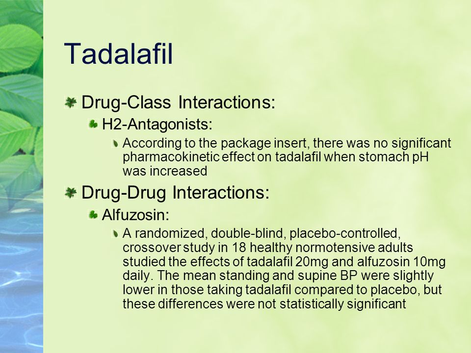 Tadalafil Drug-Class Interactions: Drug-Drug Interactions: