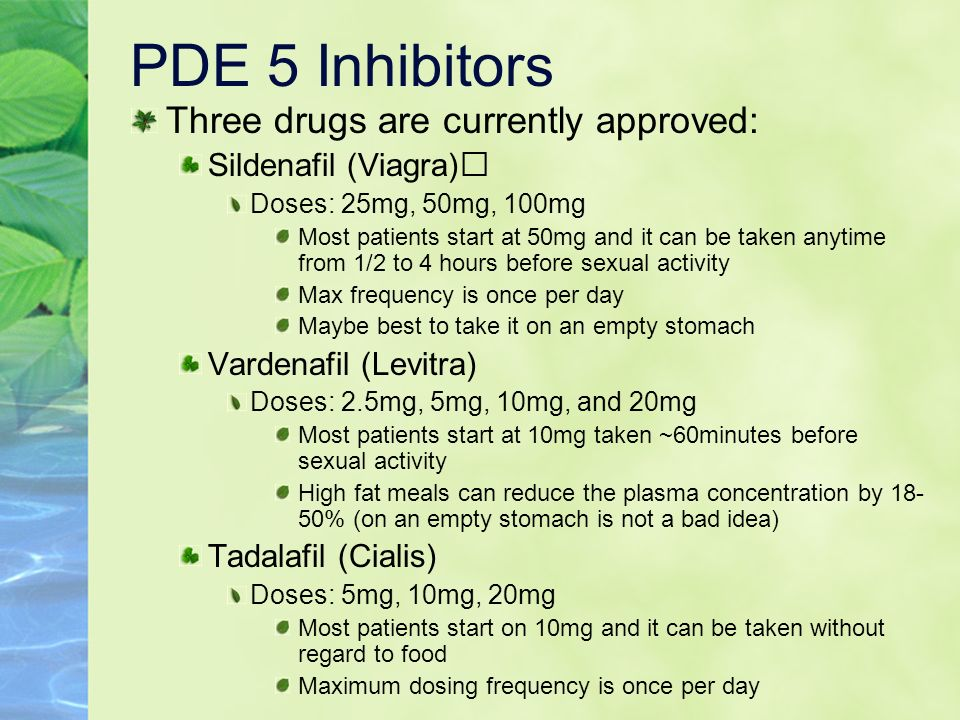 PDE 5 Inhibitors Three drugs are currently approved: