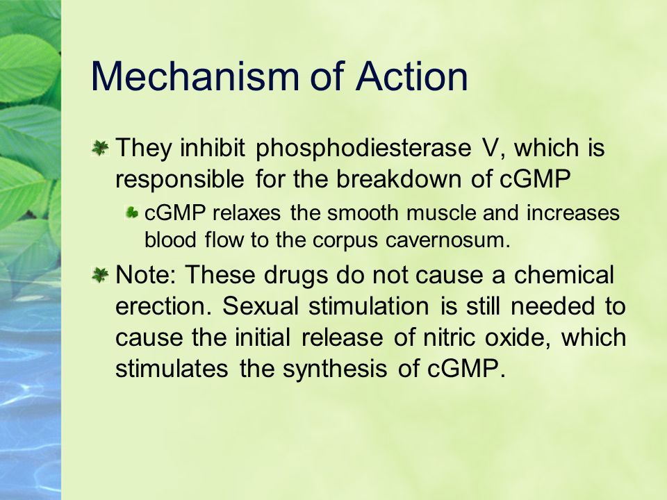 Mechanism of Action They inhibit phosphodiesterase V, which is responsible for the breakdown of cGMP.