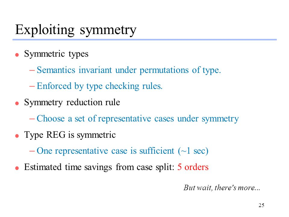 Exploiting symmetry Symmetric types
