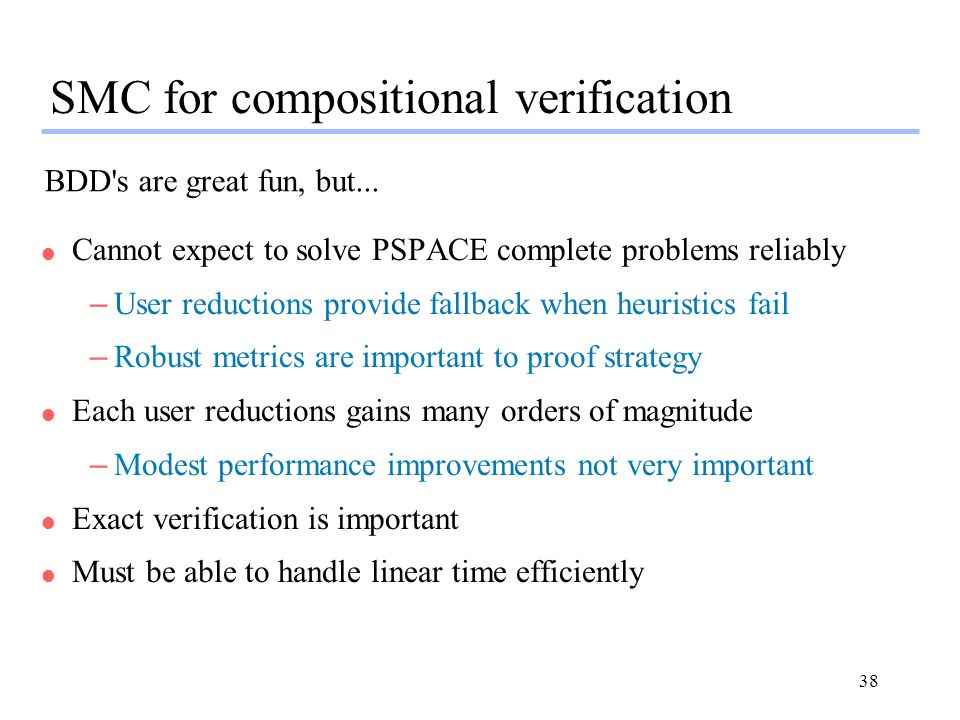 SMC for compositional verification