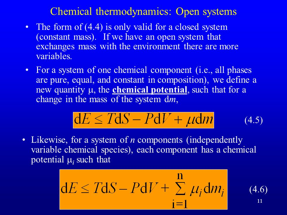 Chemical thermodynamics: Open systems