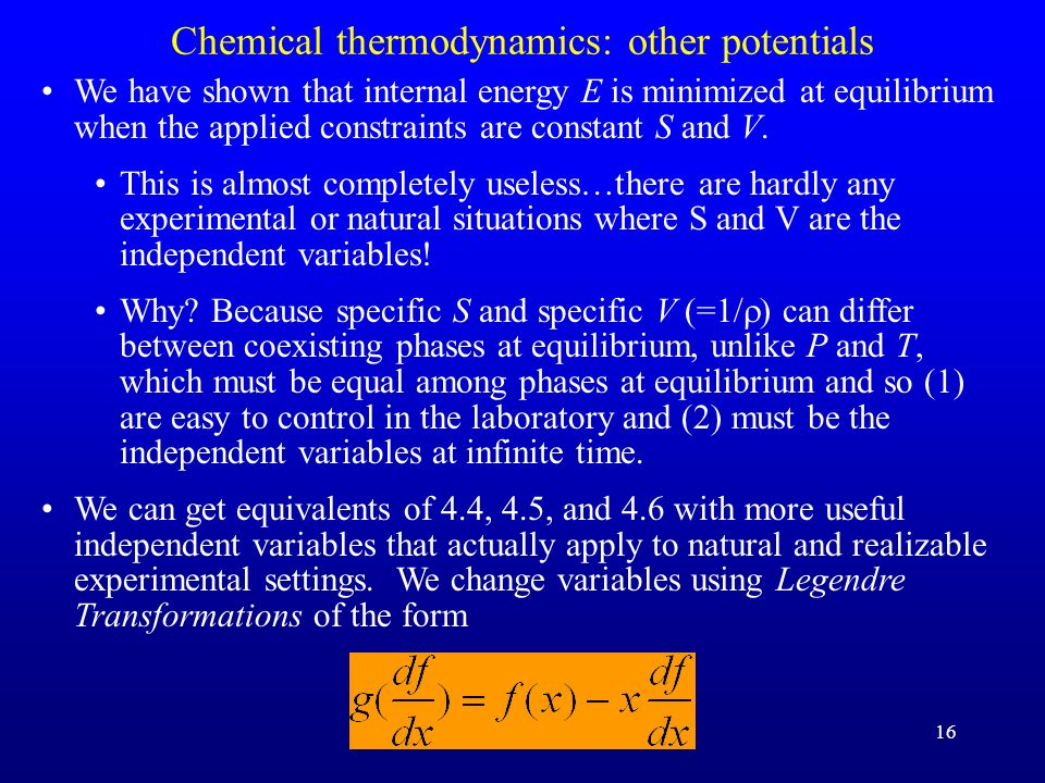 Chemical thermodynamics: other potentials