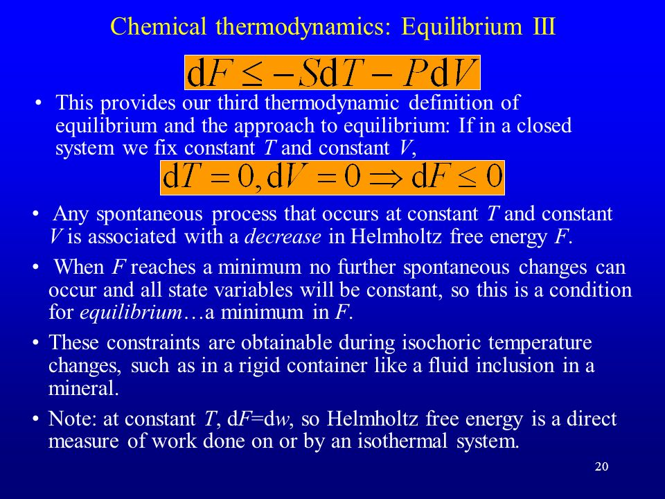 Chemical thermodynamics: Equilibrium III